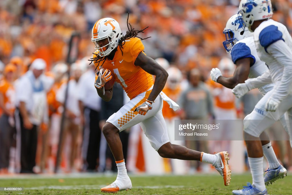 Marquez Callaway #1 of the Tennessee Volunteers runs for a touchdown after a catch during the second half of the game against the Indiana State Sycamores at Neyland Stadium on September 9, 2017 in Knoxville, Tennessee.