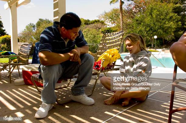 Marquez Herrod talks with Amanda KlaiberShort while attending a neighborhood barbecue near her home in Escondido Calif on April 23 Herrod a senior is...