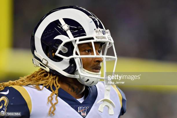 Marqui Christian of the Los Angeles Rams walks to the sideline during the game against the Seattle Seahawks at CenturyLink Field on October 03, 2019...