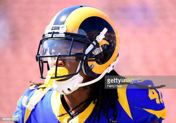 Marqui Christian of the Los Angeles Rams warms up before the game against the Seattle Seahawks at Los Angeles Memorial Coliseum on October 8, 2017 in...