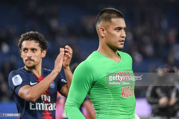 Marquinhos and Alphonse Areola of PSG celebrate the victory during the Ligue 1 match between Paris Saint Germain and Nimes at Parc des Princes on...
