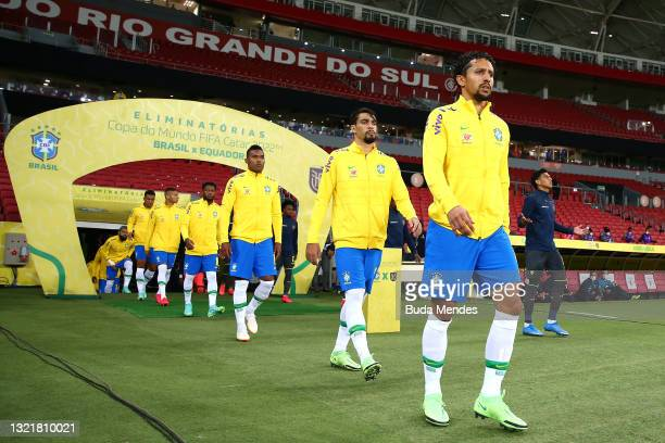Marquinhos of Brazil and teammates walk onto the field during a match between Brazil and Ecuador as part of South American Qualifiers for Qatar 2022...