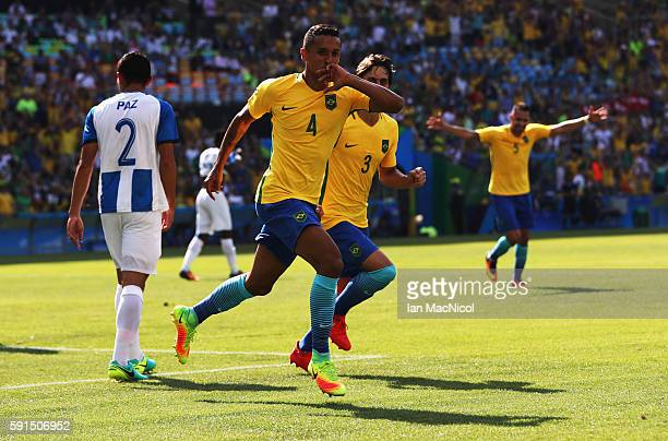 Marquinhos of Brazil celebrates after he scores the fourth goal during the Semi Final match between Brazil and Honduras at Maracana Stadium on August...