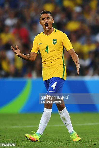 Marquinhos of Brazil celebrates as Brazil win the Men's Football Final between Brazil and Germany at the Maracana Stadium on Day 15 of the Rio 2016...