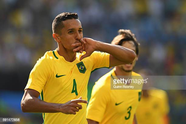 Marquinhos of Brazil celebrates scoring the 4th goal during the Men's Semifinal Football match at Maracana Stadium on Day 12 of the Rio 2016 Olympic...