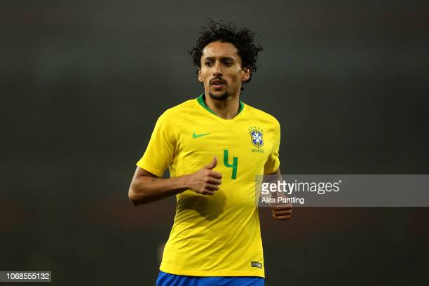 Marquinhos of Brazil during the International Friendly match between Brazil and Uruguay at Emirates Stadium on November 16 2018 in London England