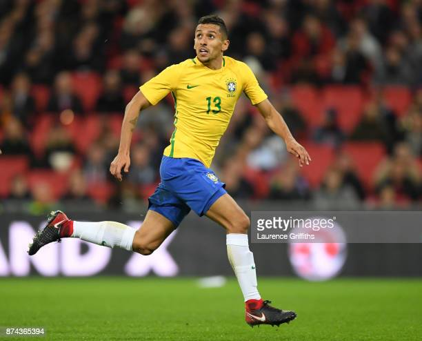 Marquinhos of Brazil in action during the International Friendly match between England and Brazil at Wembley Stadium on November 14 2017 in London...