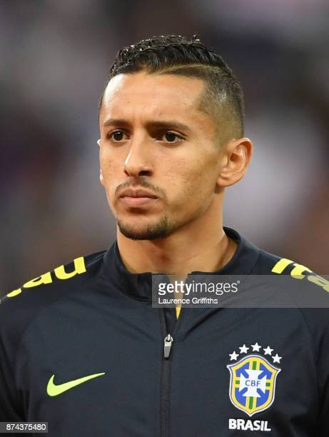 Marquinhos of Brazil looks on during the national anthems during the International Friendly match between England and Brazil at Wembley Stadium on...