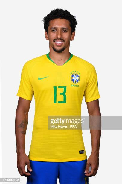 Marquinhos of Brazil poses for a portrait during the official FIFA World Cup 2018 portrait session at the Brazil Team Camp on June 12 2018 in Sochi...