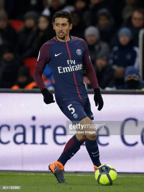 Marquinhos of Paris Saint Germain during the French League 1 match between Paris Saint Germain v Olympique Marseille at the Parc des Princes on...