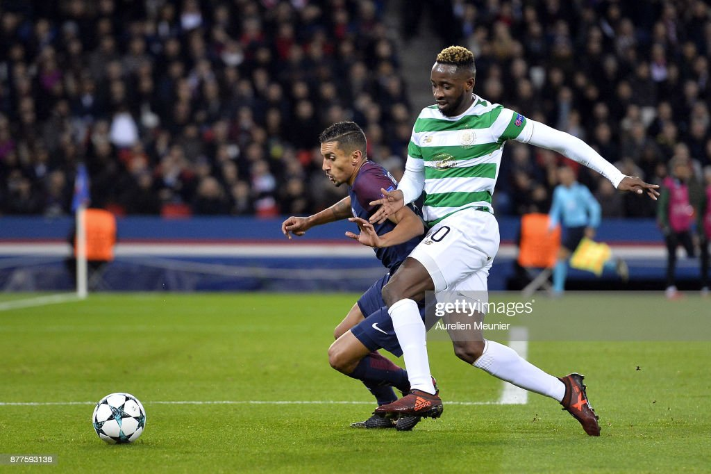Marquinhos of Paris Saint-Germain and Moussa Dembele of Celtic Glasgow fight for the ball during the UEFA Champions League group B match between Paris Saint-Germain and Celtic Glasgow at Parc des Princes on November 22, 2017 in Paris, France.