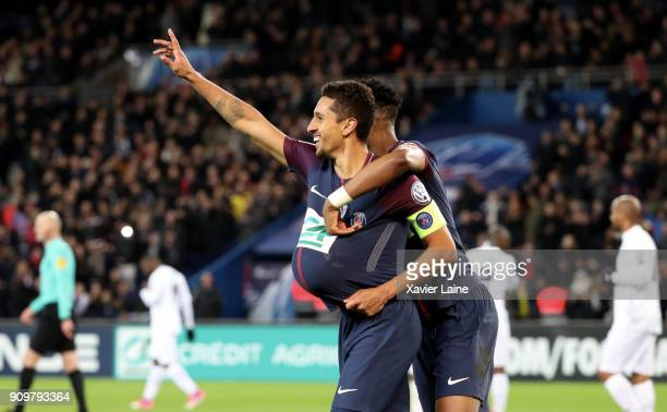 Marquinhos of Paris SaintGermain celebrate his goal during the French National Cup match between Paris Saint Germain and EA Guingamp at Parc des...