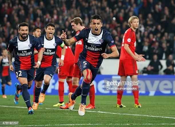 Marquinhos of Paris SaintGermain celebrates as he scores their first goal during the UEFA Champions League Round of 16 second leg match between Paris...