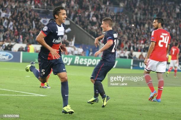 Marquinhos of Paris SaintGermain celebrates his goal during the UEFA Champions League between Paris SaintGermain FC and SL Benfica at Parc Des...