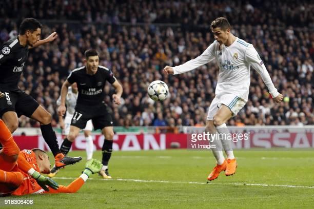 Marquinhos of Paris SaintGermain goalkeeper Alphonse Areola of Paris SaintGermain Yuri Berchiche of Paris SaintGermain Cristiano Ronaldo of Real...