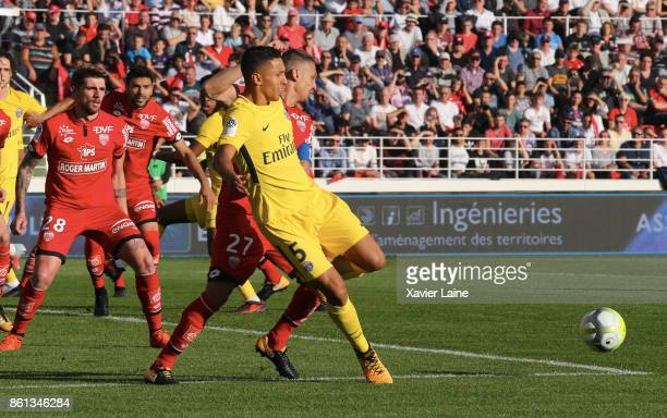 Marquinhos of Paris SaintGermain in action during the Ligue 1 match between Dijon FCO and Paris Saint Germain at Stade GastonGerard on October 14...