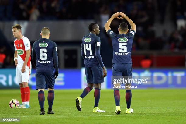 Marquinhos of Paris SaintGermain reacts after scoring during the French Cup SemiFinal match between Paris SaintGermain and As Monaco at Parc des...
