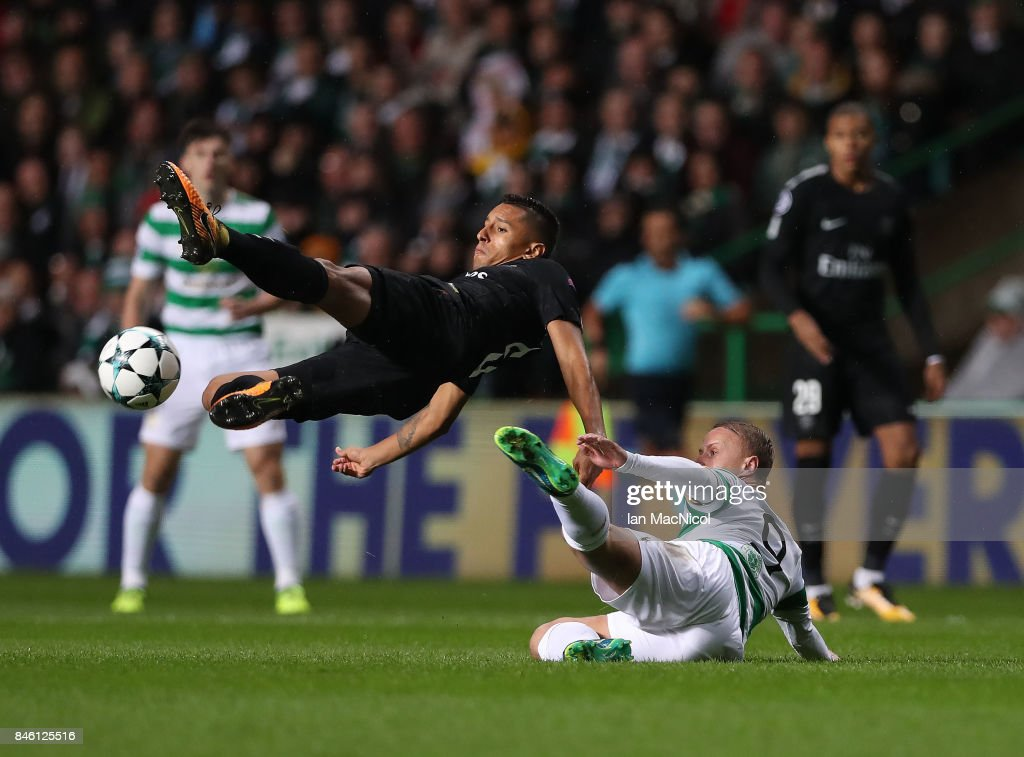 Marquinhos of Paris Saint-Germain vies with Leigh Griffiths of Celtic during the UEFA Champions League Group B match Between Celtic and Paris Saint-Germain at Celtic Park on September 12, 2017 in Glasgow, Scotland.