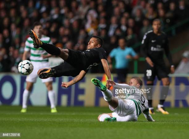 Marquinhos of Paris SaintGermain vies with Leigh Griffiths of Celtic during the UEFA Champions League Group B match Between Celtic and Paris...