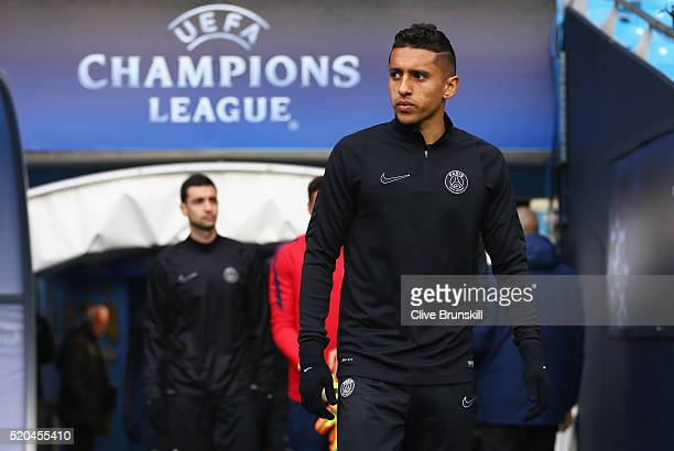 Marquinhos of Paris SaintGermain walks out for a training session ahead of the UEFA Champions League Quarter Final Second Leg match against...