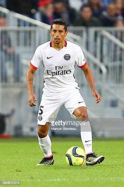 Marquinhos of Paris SG during the French Ligue 1 match between FC Girondins de Bordeaux and Paris SaintGermain at Nouveau Stade de Bordeaux on May 11...