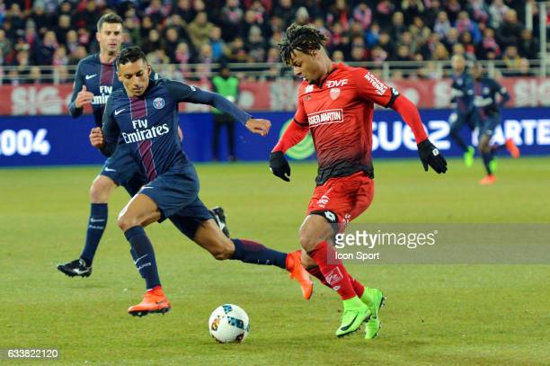 Marquinhos of PSg and Lois Diony of Dijon during the Ligue 1 match between Dijon DCO and Paris Saint Germain at Stade Gaston Gerard on February 4...