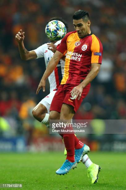 Marquinhos of PSG battles for the ball with Radamel Falcao of Galatasaray during the UEFA Champions League group A match between Galatasaray and...