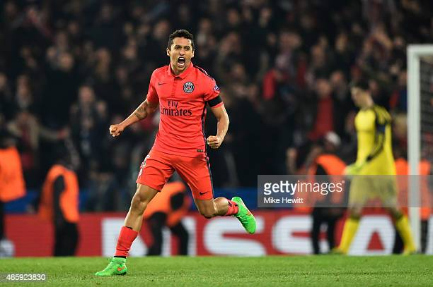 Marquinhos of PSG celebrates following his team's victory during the UEFA Champions League Round of 16 second leg match between Chelsea and Paris...