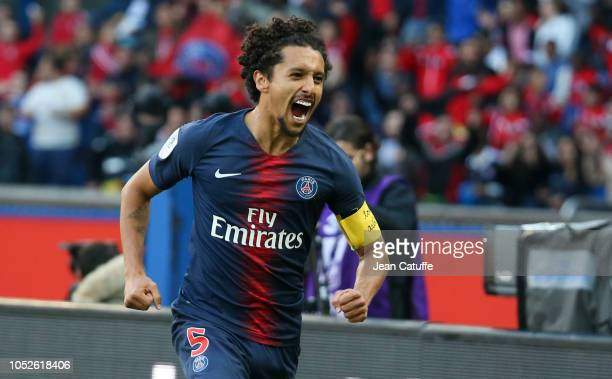 Marquinhos of PSG celebrates his goal during the french Ligue 1 match between Paris SaintGermain and Amiens SC at Parc des Princes stadium on October...