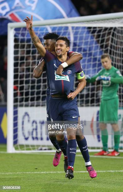 Marquinhos of PSG celebrates his goal with Presnel Kimpembe during the French National Cup match between Paris Saint Germain and En Avant Guingamp at...