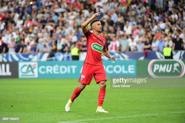 Marquinhos of PSG celebrates winning the National Cup Final match between Angers SCO and Paris Saint Germain PSG at Stade de France on May 27 2017 in...