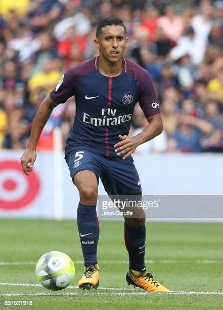 Marquinhos of PSG during the French Ligue 1 match between Paris Saint Germain and Amiens SC at Parc des Princes on August 5 2017 in Paris France