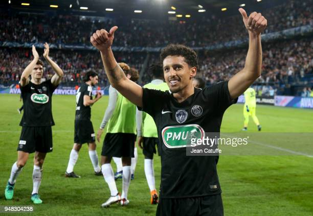 Marquinhos of PSG Thomas Meunier celebrate the victory following the French Cup semifinal between Stade Malherbe de Caen and Paris Saint Germain at...