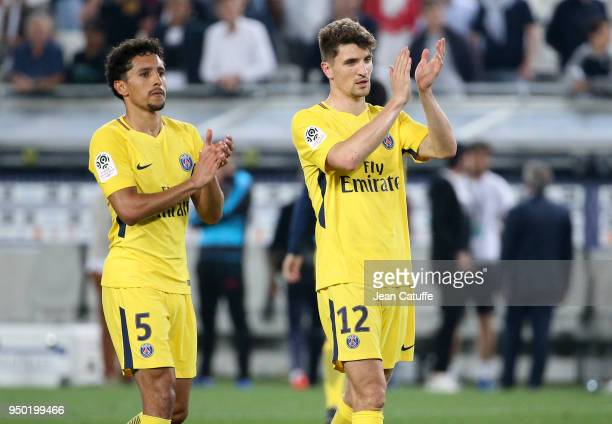 Marquinhos Thomas Meunier of PSG celebrate the victory following the French Ligue 1 match between FC Girondins de Bordeaux and Paris Saint Germain at...