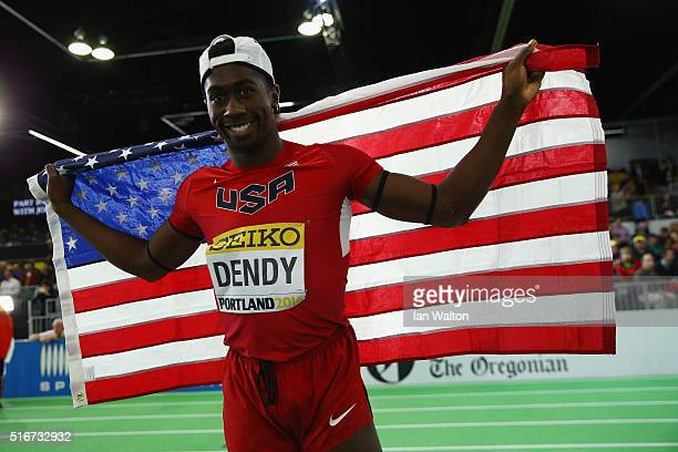 Marquis Dendy of the United States wins gold in the Men's Long Jump Final during day four of the IAAF World Indoor Championships at Oregon Convention...