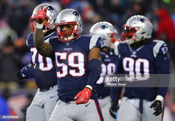 Marquis Flowers of the New England Patriots reacts during the AFC Divisional Playoff game against the Tennessee Titans at Gillette Stadium on January...