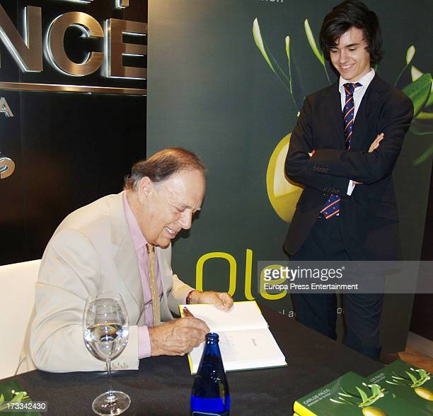 Marquis of Grinon Carlos Falco and his son Duarte Falco present the book 'Oleum' at El Corte Ingles Store on July 11 2013 in Madrid Spain
