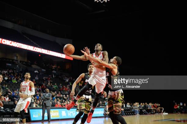 Marquis Teague of the Memphis Hustle goes to the basket against the Windy City Bulls on March 17 2018 at the Sears Centre Arena in Hoffman Estates...