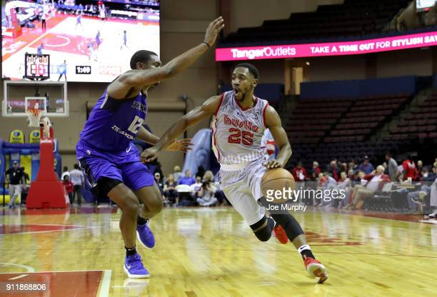 Marquis Teague of the Memphis Hustle handles the ball against the Texas Legends during an NBA GLeague game on January 29 2018 at Landers Center in...