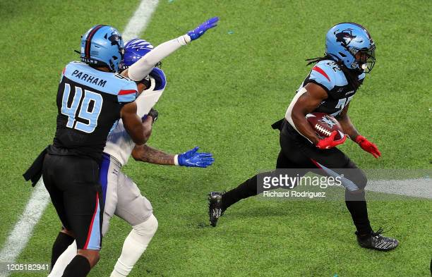 Marquis Young of the Dallas Renegades carries the ball in the third quarter against the St Louis Battlehawks at an XFL Game on February 09 2020 in...