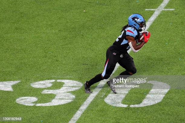 Marquis Young of the Dallas Renegades carries the ball in the third quarter against the St. Louis Battlehawks at an XFL Game on February 09, 2020 in...