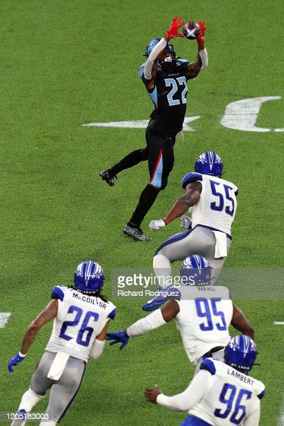 Marquis Young of the Dallas Renegades catches a pass against the St. Louis Battlehawks in the third quarter at an XFL Game on February 09, 2020 in...