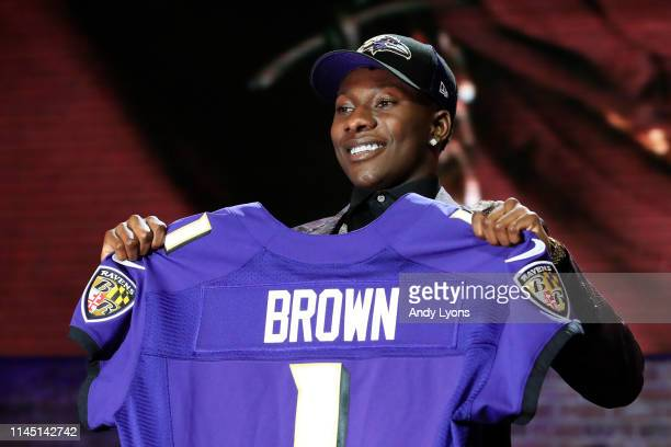 Marquise Brown of Oklahoma reacts after being chosen overall by the Baltimore Ravens during the first round of the 2019 NFL Draft on April 25 2019 in...