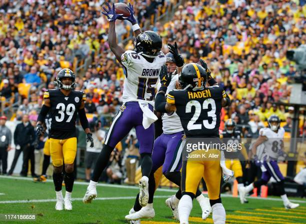 Marquise Brown of the Baltimore Ravens catches a 11 yard touchdown pass in the second quarter against Joe Haden of the Pittsburgh Steelers on October...