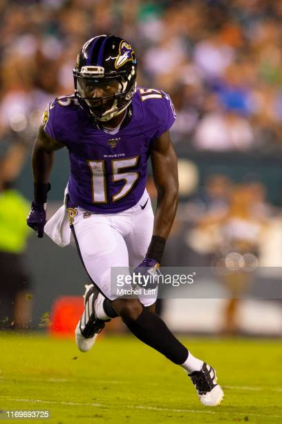 Marquise Brown of the Baltimore Ravens in action against the Philadelphia Eagles in the preseason game at Lincoln Financial Field on August 22 2019...