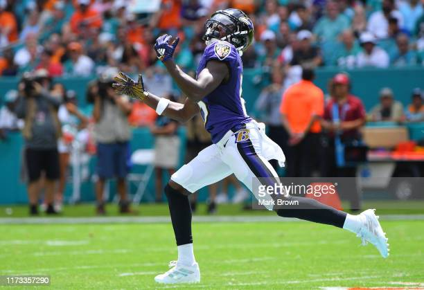 Marquise Brown of the Baltimore Ravens in action against the Miami Dolphins at Hard Rock Stadium on September 08 2019 in Miami Florida