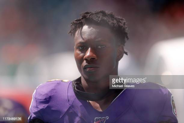 Marquise Brown of the Baltimore Ravens looks on against the Miami Dolphins at Hard Rock Stadium on September 08 2019 in Miami Florida