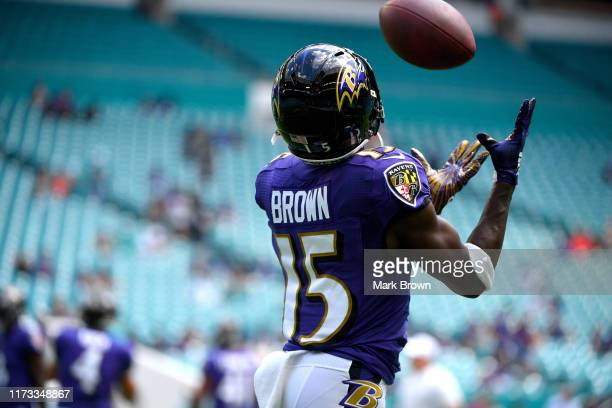 Marquise Brown of the Baltimore Ravens performing drills prior to the game against the Miami Dolphins at Hard Rock Stadium on September 08 2019 in...