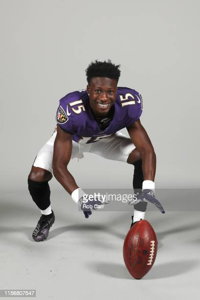 Marquise Brown of the Baltimore Ravens poses for a photo at the Under Armour Performance Center on June 10 2019 in Owings Mills Maryland