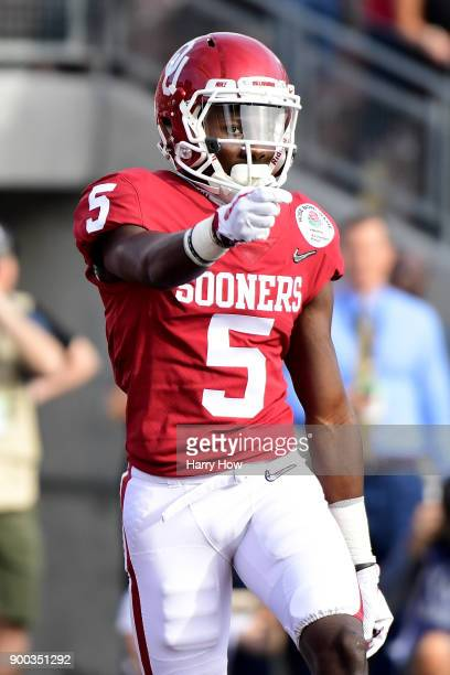 Marquise Brown of the Oklahoma Sooners celebrates after scoring a touchdown in the first quarter against the Georgia Bulldogs in the 2018 College...
